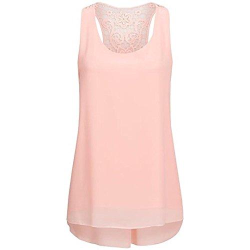 Tefamore mousseline manches Blouse Top Rose Tunique shirt Femme T en ❤️ sans d'été Gilet wXWfdqX0n