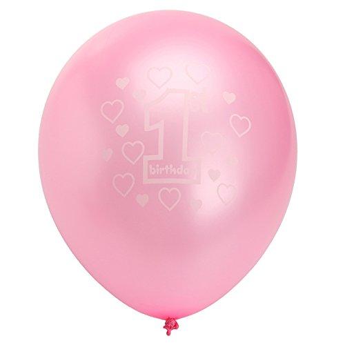 QOJA 10 per set pink girl 1st birthday printed pearlised balloons