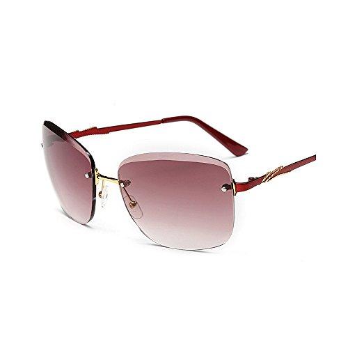 para para Color Frameless de Sol Conducir Protección Sol Gafas Gu Sunglasses UV Classic de de Peggy Rojo Graceful Rojo Delicate Gafas Cool Square Lady'S Mujer Gafas Sol 1zqwwBRSX