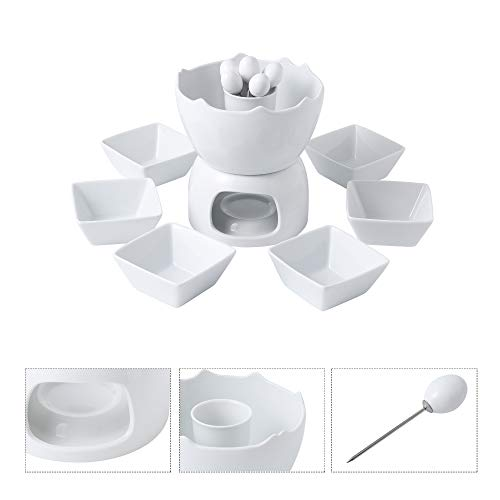 Malacasa Fondue Pot Set Two-layer Porcelain Tealight Chocolate Fondue with Dipping Bowls and Forks for 6, Cheese Fondue or Butter Fondue Set, White by Malacasa (Image #1)