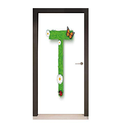(Letter T 3D Door Sticker Caps T with Flourishing Fragrance Botanical Design and Ladybug Girls Room for Home Decor Green Multicolor,W23.6xH78.7)
