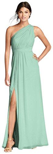 David's Bridal Long One-Shoulder Crinkle Chiffon Bridesmaid Dress Style F18055, Mint, 26]()