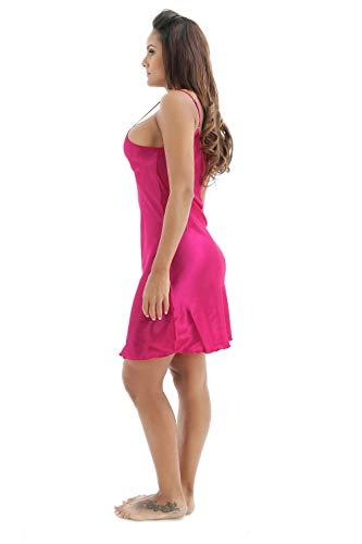 Vestido Sling Elegante cuello Verano Tirantes De Mujer Vintage Anchas Unicolor Sin Fashion V Casual Dormir línea Vestidos Mini Rose Camisones A Mangas Red FwfxqAH