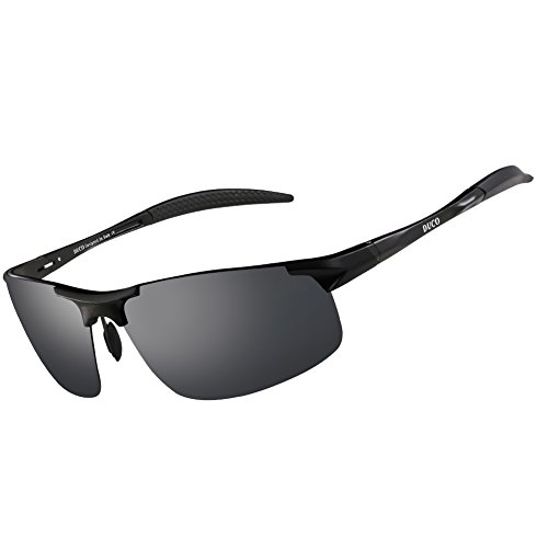 Duco Men's Sports Style Polarized Sunglasses Driver Glasses 8177S (Black Frame,Gray - Men Unbreakable Sunglasses
