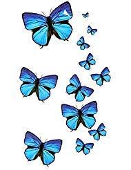 Oottati Pequeño Lindo Tatuaje Temporal Mariposa Azul (2 Hojas ...