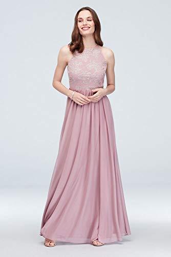 Fairy Tale Chiffon Dress (High-Neck Caviar Beaded Floral Chiffon Dress Style W60087, Dusty Rose,)
