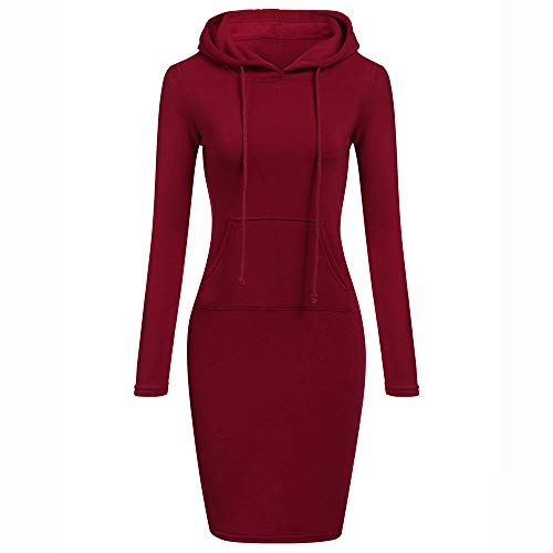 , Long Sleeve Solid Patchwork O Neck Casual Long Hooded Sweatershirt Dress ANJUNIE(Red,S) ()