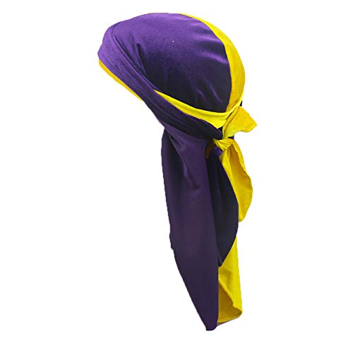 Purple Pirate Hat (Song Qing Double Color Velvet Durag Turban Wrapped Hat Pirate Caps with Extra Long Wide Straps Purple)