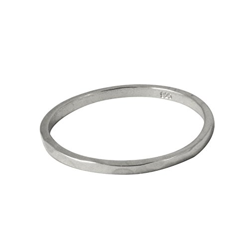 apop nyc Stackable Thin Band Ring Sterling Silver Hammered size 8 [Jewelry]