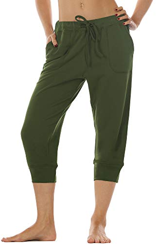 icyzone Women's French Terry Jogger Lounge Sweatpants - Active Capri Pants for Women (Army, M)