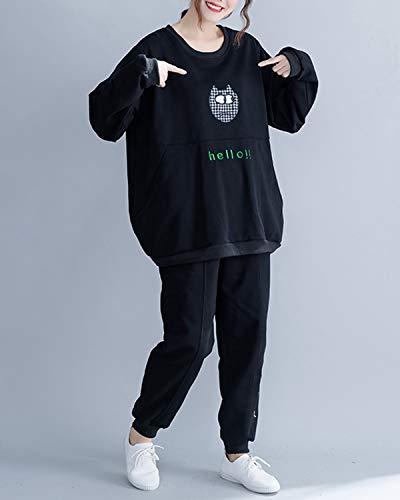 Donna Felpa Da Con One Lettera Cappuccio Omasuwi Black Size Size Ricamo Black In A Allentata color Lana wTUIcqFCx
