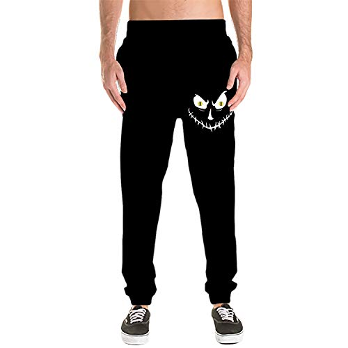 Dreamting Halloween Face Men's Sweatpants Men's Active Sports Running Workout Pant with Pockets -