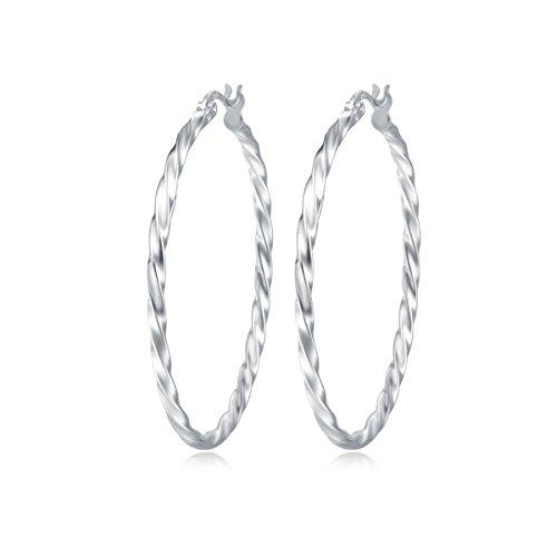 (Carleen 14K White Gold Plated 925 Sterling Silver Dainty Twist Round Click-Top Hoop Earrings for Women Girls (Diameter 45mm))