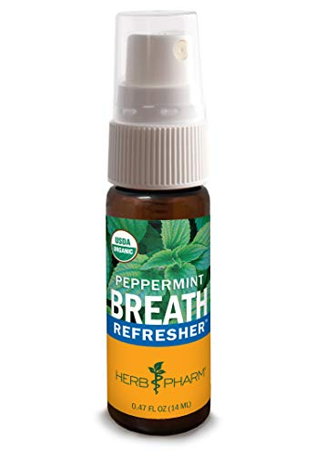 (Herb Pharm Breath Refresher Certified Organic Herbal Fresh Breath Spray, Peppermint)