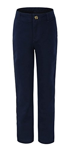 Navy School Uniform Pants (Bienzoe Big Girl's School Uniforms Cotton Stretchy Slim Flat Front Adjust Waist Pants,Navy,8)