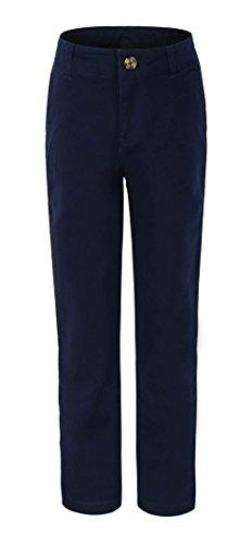 Bienzoe Big Girl's School Uniforms Cotton Stretchy Slim Flat Front Adjust Waist Pants,Navy,8 (Old Navy Pant Women)