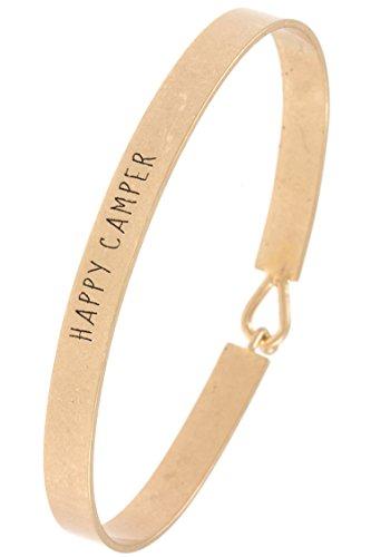 Etched Jade Glass (GlitZ Finery HAPPY CAMPER Etched Bangle Bracelet (Worn Gold))