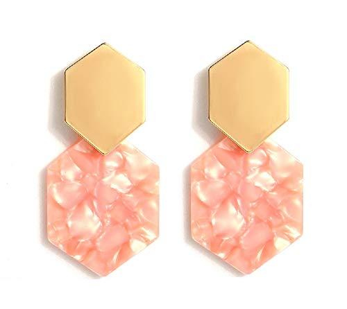 Resin Acrylic Geometric Dangle Earrings, Tortoise Shell Earrings for Women - Designer Geometric Earrings