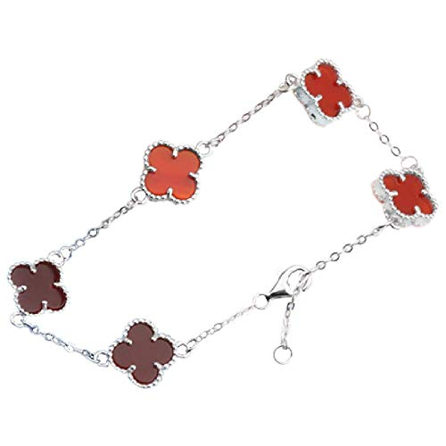 Red Black Onyx Malachite 18K Gold Plated Four-leaf Clover Bracelet/Classic Fashion 925 Sterling Silver Leaf Clover Pendant Bracelets for Women&Girls (Red-white gold)