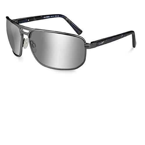Wiley X Hayden Slvr Flash/Drk Gunmtl Changeable Matte Black Frame