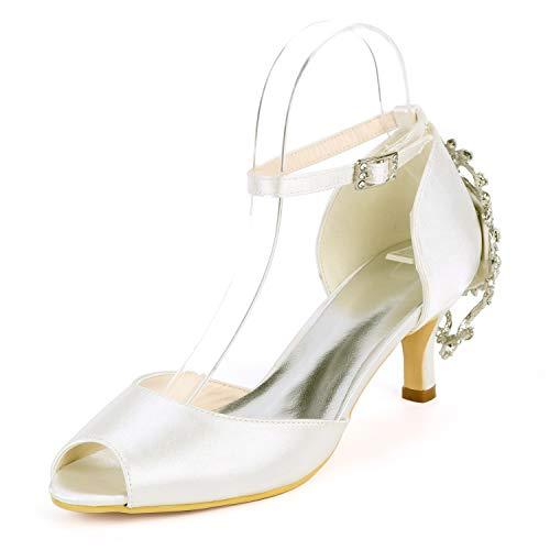 Abito Abito Abito Avorio Ivory 6cm Sposa Fashion Tacchi Standard Standard Standard Standard Elobaby Satin Alti New da Scarpe Tacco Donne Comode CPBRqwB