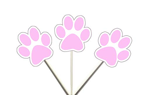 (PAW Print Pink Cupcake Toppers, Dog Cupcake Toppers, Puppy Party, Cupcake Toppers)