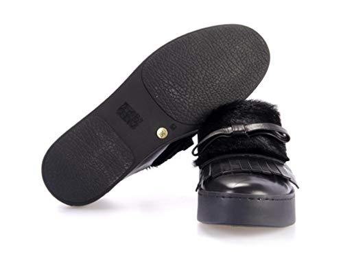 D´or Donna Scarpa Sneaker Bassa Moccassino In Pomme Pelle Nera 16dzwqWXcH