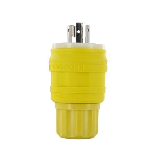 Connector Wetguard - Leviton 26W48 20 Amp, 250 Volt, Locking Plug, Industrial Grade, Grounding, Wetguard, Yellow