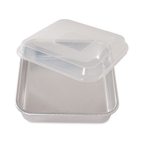 Heavy Aluminum Cake Pan - Nordic Ware Natural Aluminum Commercial Square Cake Pan with Lid, Exterior 9.88 x 9.88 Inches