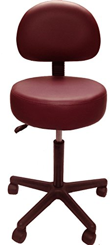 Pneumatic Rolling Adjustable Stool with Removable Backrest (Burgundy)