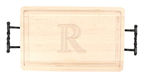 BigWood Boards 220-LTWB-R Thick Carving Board with Large Twisted Ball Handle, 15-Inch by 24-Inch by 1.25-Inch, Monogrammed