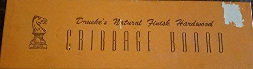 - Vintage Drueke's Natural Finish Hardwood Cribbage Board