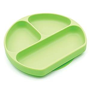 Bumkins Silicone Grip Dish Suction Plate Divided Plate Baby Toddler Plate Bpa Free Microwave Dishwasher Safe Green