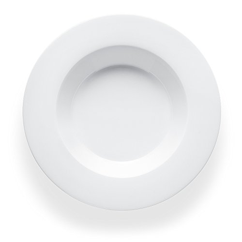 Bon Chef 5000008B Wide Rim 9 Inch x 9 Inch x 1.5 Inch Round Soup Plate, Bone China Dinnerware, (Pack of 24) (Soup Wide Plate Rim)