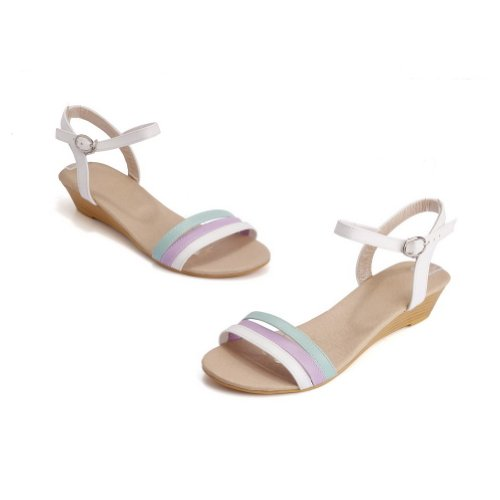 Assorted Toe with Colors Soft PU Low Sandals VogueZone009 Buckle White Womens Open Material Heel Epn8qxRxUw