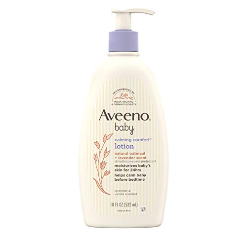 Aveeno Baby Calming Comfort Moisturizing Lotion with Relaxing Lavender & Vanilla Scents, Non-Greasy Body Lotion with…