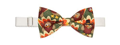 Mens Turkey Thanksgiving Pre-Tied Cotton Bow Tie On Adjustable Twill Strap