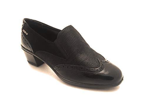 De Cuero Negro Mujer Para Vestir Zapatos Enval 1wgq5
