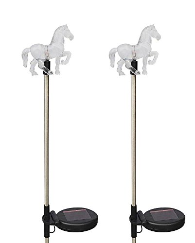 Solar Powered Horse Garden Stake Outdoor Color Change Lights (Set of 2) by Unique Gadgets & Toys