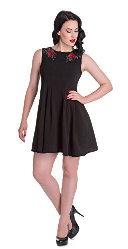 Damen Vintage gestickten Kleid mit Hell Lillian Bunny Rosen Schwarz Etuikleid c7fwPUWg