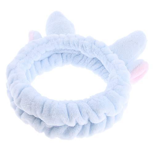B Baosity Mujeres Niñas Navidad Animal Ciervo Cuerno Toalla Suave Envoltura Fiesta SPA Baño Limpio Maquillaje Diadema - Azul Claro, Tal como se Describe: ...