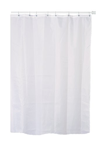 Extra Long (7 Feet / 84 Inches) White Fabric (Polyester / Nylon) Shower Curtain with Metal Grommets (Buckles) at the Top, and a Weighted Hem at the Bottom to Reduce Billowing. Water Repellent. - Buckle Grommets