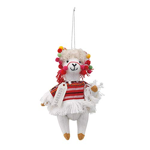 DEMDACO Lorenzo The Llama Peruvian Traveler Red 8 x 4 Felt Fabric Christmas Ornament (Christmas Fabric Ornament)