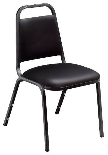 NPS 9110-B Vinyl Upholstered Standard Stack Chair, 300 lbs Weight Capacity, 16