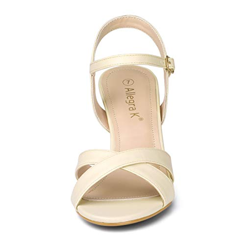 Sandals Allegra US Kitten Straps Women 7 K Nude M Strap Heel Cross Ankle rIqIzH7wx