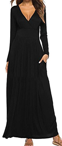 Long Cromoncent Pleated Maxi Dresses Women's Solid Swing Neck Sleeve V Black Pocket FO5qO