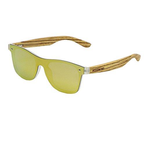 Wood Sunglasses Polarized for Women and Men - Wood Frame Sunglasses Wayfarer with Flat Mirror Lens