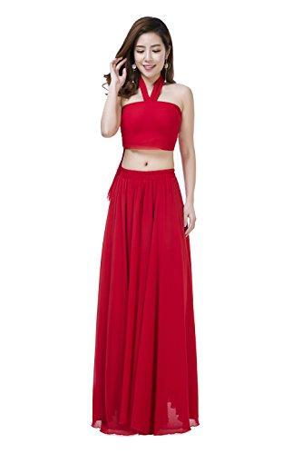 Sissily Women Summer Bow Tie Chiffon High Waist Pleated Big Hem Mopping Floor Length Beach Maxi Skirt with Belt(Medium/Red)