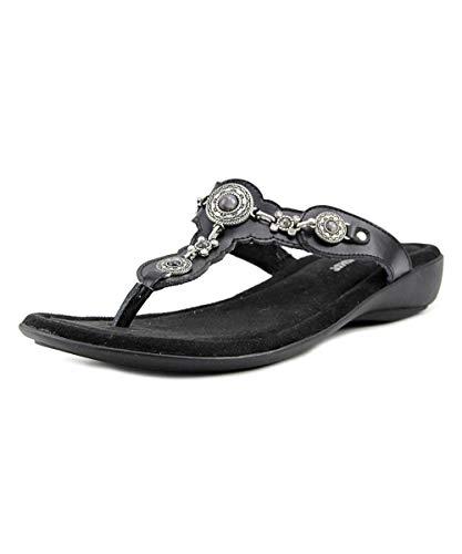 Minnetonka Womens Ratan Thong Leather Open Toe Casual Slide, Black, Size ()