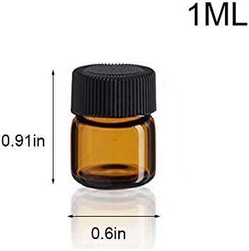 SIMPLE-E 100pcs 1ml 1 4 dram Amber Mini Glass Bottle 1cc Amber Sample Vial Small Essential Oil Bottle Travel Must 1PC Glass clean cloth